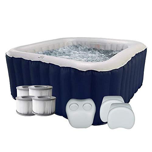 Red Deco Spa aufblasbarer Whirlpool quadratisch blau iOS 4 Sitzer + 2 Kopfstützen + 1 Getränkehalter + 4 zusätzliche Filter