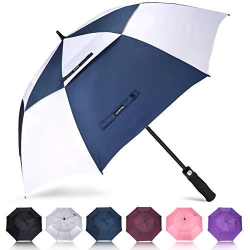 ZOMAKE Golf Regenschirm, Premium Qualität, 157cm Groß, Sturmsicher, Automatik - Automatisch zu öffnen, Regen- und Windresistent Golfschirme(Blau/Weiß)