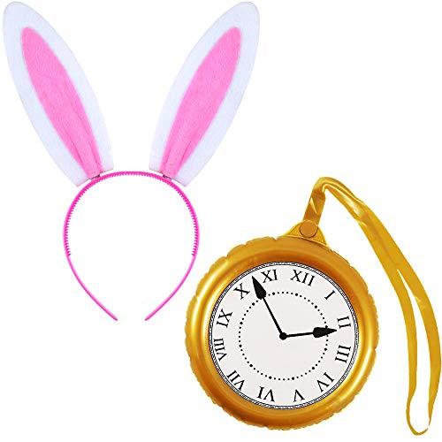 German Trendseller1x Maís de Las Maravillas-Conejo-Conjunto de Vestuario-Deluxe┃Orejas de Conejo Dulce+Reloj Dorado Premium┃Carnaval-Fiesta┃Conejo de Las Maravillas-Conjun