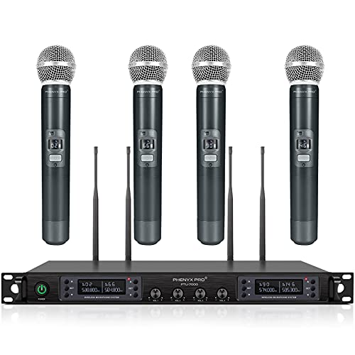 Wireless Microphone System, Phenyx Pro Quad Channel Cordless Mic Set with Metal Handheld Mics, 4x40 Channels, Auto Scan, Long Distance 328ft, Ideal for DJ, Church, Outdoor Events (PTU-7000A)
