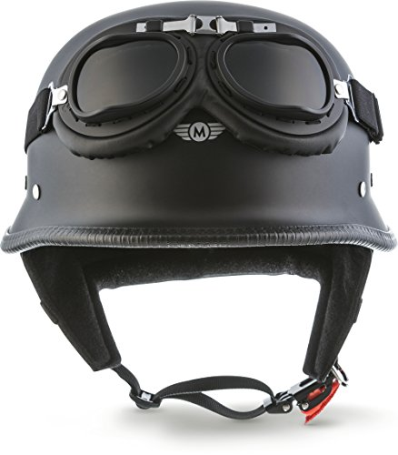 "Moto Helmets D33-Set ""Matt Black"" · Brain-Cap · Halbschale Jet-Helm Motorrad-Helm Roller-Helm Scooter-Helm Bobber Mofa-Helm Chopper..."