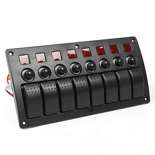 WUPYI2018 Panel de conmutación, 3 en 1 LED panel de conmutación DC 12 V/24 V 8 marchas panel de conmutación interruptor de potencia para coche, autobús, barco