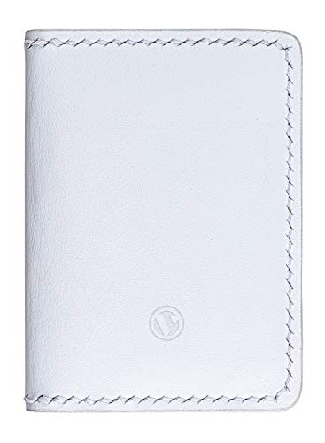 VULKIT Cartera Tarjeteros Piel Genuino Artesanales Slim Billeteras para Hombre o Mujer RFID Bloqueo, 6 Ranuras para Tarjetas - Blanco