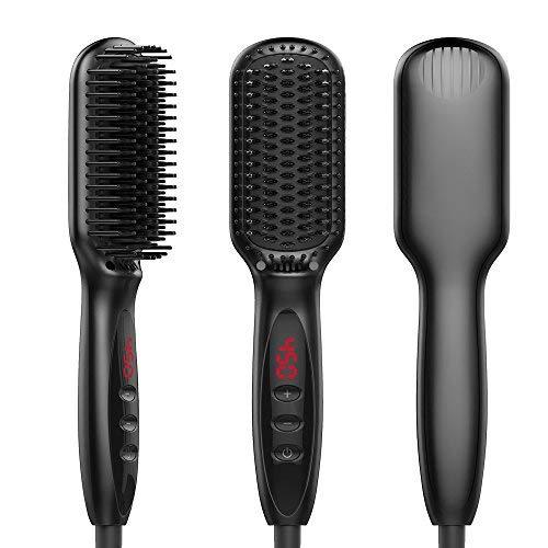 3-in-1 Ionischer Haarglätter Bürste Glättbürste mit Schneller MCH Keramik Heizung, Einstellbare Temperatur Haarglättung Bürste und Auto-Off Funktion, Tragbarer Glättungbürste für Zuhause und Unterwegs