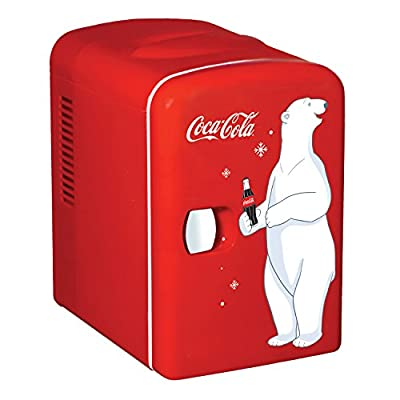Coca-Cola KWC-4 4 Liter/6 Can Portable Fridge/Mini Cooler for Food, Beverages, Skincare-Use at Home, Office, Dorm, Car, Boat- AC & DC Plugs Included, 4.2 Quarts, Red