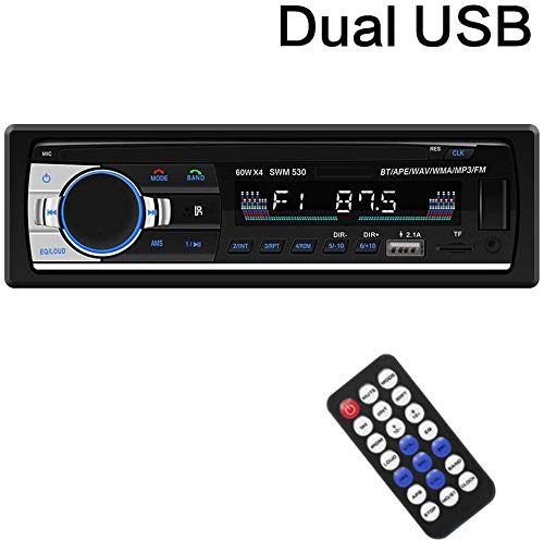 Multimedia Car Stereo – Single Din LCD, BT Audio and Calling, Built-in Microphone,FM Radio Receiver, MP3 Player, WMA, USB, Auxiliary Input, Wireless Remote Control