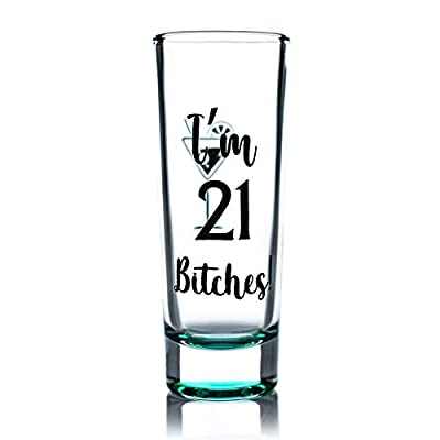 Greenline Goods Shot Glass – 21st Birthday Shot Glass |I'm 21 Bitches| 21st Birthday Party Decorations (1 Glass) – Funny Colored Shot Glass