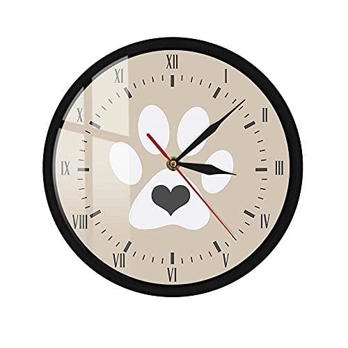 Control de Sonido LED Reloj de Pared Corazón Gris Pata de Gato Blanco Marco de Metal Gatito Gatito Amantes del Gatito Decoración del hogar Reloj de Pared Colgante 12 Pulgadas