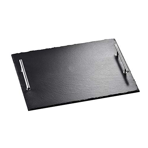 MALACASA, Serie Nature.Slate, Schieferplatte Käseplatte mit Griff 15,73 Zoll / 40 * 30 * 5 cm Servierplatte Buffetplatte