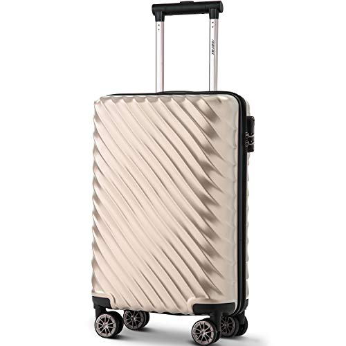 Merax Hard Luggage Lightweight Spinner Suitcases 4 Wheels Spinner Durable ABS+PC Trolley Travel Case with Lock (20/24/28/Set of 3) (S-20, Champagne)
