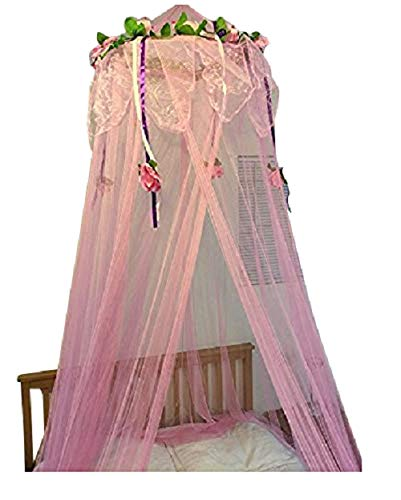 OctoRose Flower Top Around Bed Canopy Mosquito Net for Bed, Dressing Room, Out Door Events (Pink)