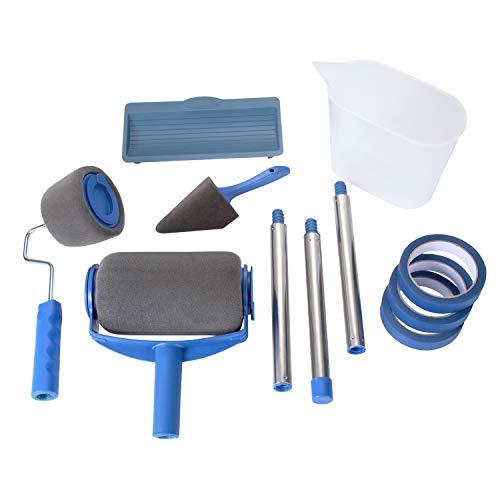 Paint Roller Pro [Versione aggiornata] - Rullo per Pittura Senza Cuciture con Serbatoio Professionale e Nastro per Mascheratura - Ideale per Verniciare e Imbiancare Muri, Porte (7 Pcs)