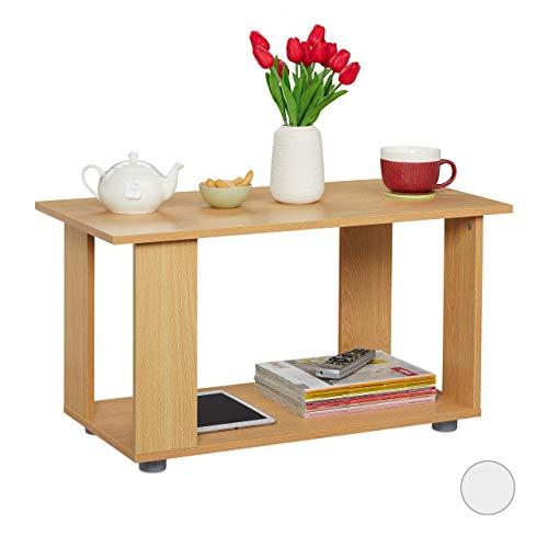 Relaxdays Couchtisch, mit Ablagefläche, rechteckiger Beistelltisch, im Wohnzimmer als TV Board, HBT 45x80x40 cm, Natur