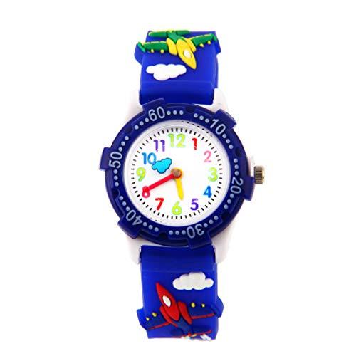 NICERIO Relojes para Niños - Encantadores Aviones de Dibujos Animados en 3D Relojes para Niños Reloj de Cuarzo para Niños Punteros Fáciles de Leer Reloj de Pulsera para Maestros para Niños Niñas