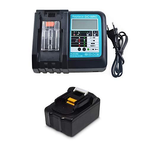 Ersatz 18V 5.0Ah Akku mit Ladegerät DC18RC mit LED für Makita Baustellenradio DMR112 DMR110 DMR115 DMR114 DMR107 DMR108 DMR109 DMR106 18 Volt Radio Batterie