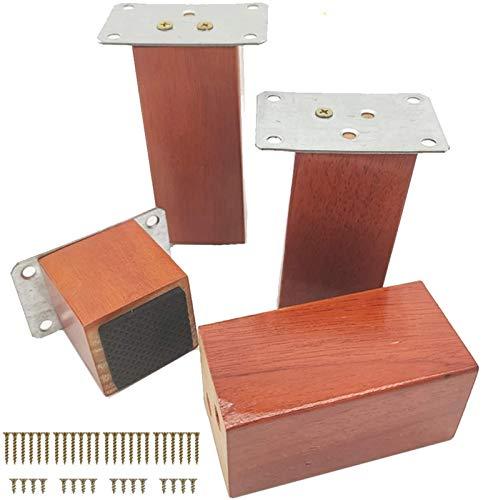 KISNAD Patas de gabinete Muebles de pies Paquete de 4 Patas de reemplazo de Madera de Madera cuadradas agrega Camas de Altura Sillón de sofá Sillón Pies (Color : Red, Size : 10cm/4in)