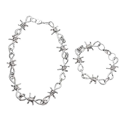 Barbed Wire Thorns Necklace Bracelet Jewelry Set 1 Set, Adjustable Size, Alloy Material, Easy to Match, for Valentine's Day Present