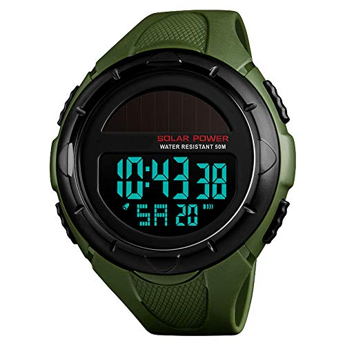Men's Solar Digital Sports Watch, 50M Waterproof Military Outdoor Watches Black Large Face with...