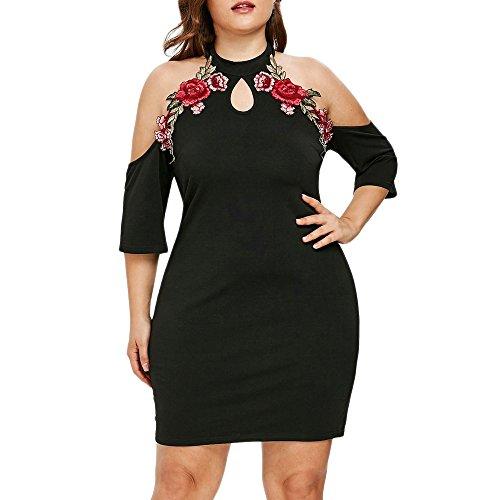 VEMOW Elegante Damen Etuikleid Plus Größe Blume Stickerei Applique Schlüsselloch Liebsten Casual Täglichen Party Mini Kleid(Schwarz, 56 DE / 5XL CN)