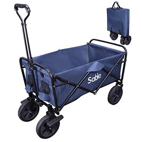 Sable SA-HF021 Bollerwagen Faltbarer Handwagen Transportwagen Gartenkarre Faltwagen für Outdoor/Festivals/Camping, bis 100 kg belastbar, 102 x 52 x 76 bis 101 cm, Optimierte Version (Blau)