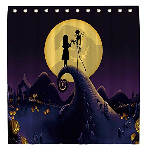 Allenjoy 183 x 183 cm Nightmare Before Christmas Duschvorhang für Badezimmer Sets Trick or Treat Jack Home Bath Decor Dekorationen anpassbar Durable Waterproof Fabric Machine washable with 12 Hooks