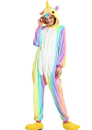 VineCrown Adulte Licorne Pyjama Déguisement Combinaison Costume Grenouillère Nouveauté à Capuche Animal Pyjamas Nuit Vêtements Halloween Carnaval Noël (M for 160CM-168CM, Rainbow)