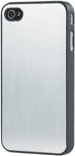 Xcase iPhone Hülle: Schutzcover mit Alu-Blende für iPhone 4/4s, Silber (Handy-Schutz-Tasche für iPhone)