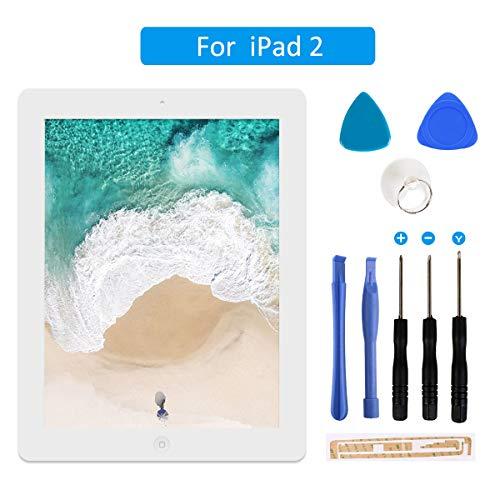 FLYLINKTECH Touchscreen für iPad 2 Weiß, LCD Display, Touchscreen, voller Front-Touchscreen Digitizer Glas Montage Reparatur Ersatzteile mit Home Button flexiblem Kabel und Werkzeuge