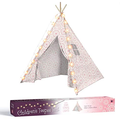 5.5ft Kids Teepee Play Tent - Includes 20 Star String Lights - Natural Cotton Linen Mix Tipi - Girls Bedroom Decoration Playhouse Gift