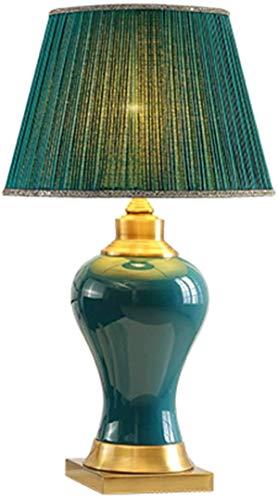 Lamparas de mesita de noche Lámpara de mesa de cerámica esmeralda, base de alambre cromado combinado con cuadrado y círculo, adecuado para la cafetería Lámpara de mesa de iluminación