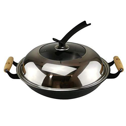 Padella Wok in Ghisa per Cucinare Sano con Coperchio a Induzione, 46cm