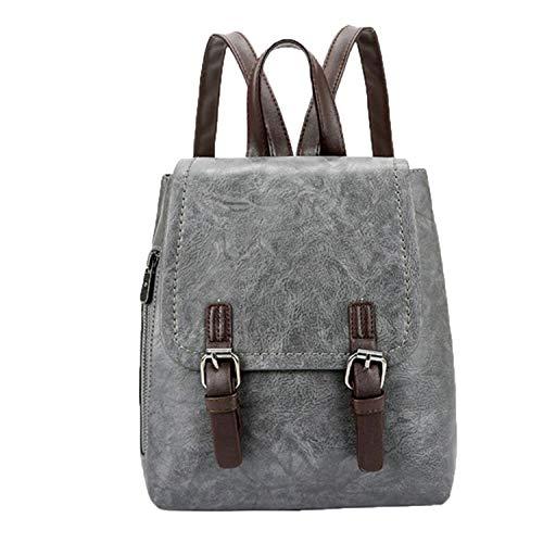 Women Girls Backpacks Vintage College Wind Girls School Bags Girls Leather Teenage Travel Shoulder Backpack Women Laptop Bag,Gray