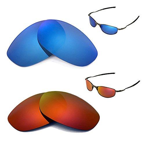 Walleva Polarisierte Feuerrot + Eisblaue Gläser für Oakley Tightrope
