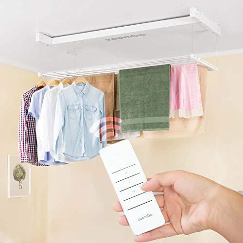 Zoomba - Elektrischer Wäscheständer für die Decke mit Fernbedienung Aluminiumstangen. Decke Hängend oder an der Wand, Balkon, Badewanne innen und Outdoor – platzsparend (Zoomba 160 cm)
