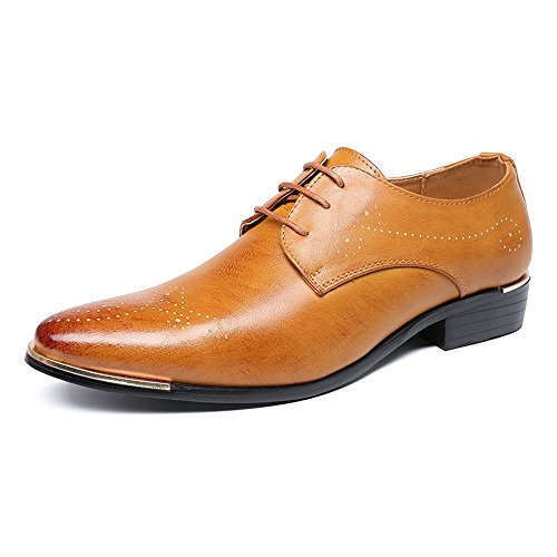 CONGCASE Men's Lace Up Shoes Hollow Carving PU lederen bovenkant Moeiteloos bedrijf Condom Sole Oxfords (Color : Brown, Size : 40 EU)