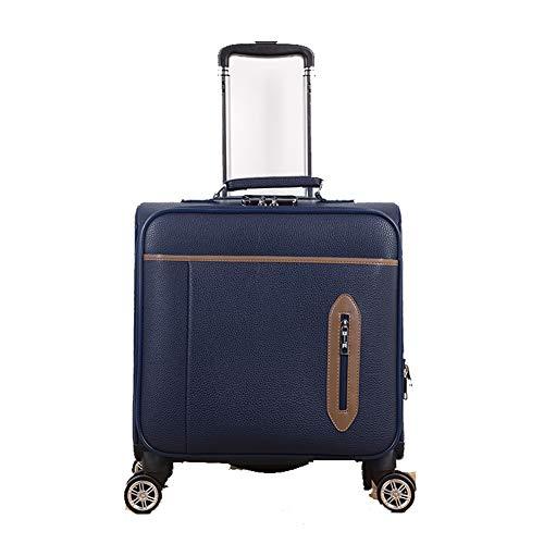 Lederen doos 18 inch trolley case kleine zakelijke universele wiel boarding koffer koffer handbagage slot doos zacht