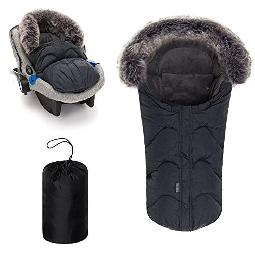 Zamboo sacco per ovetto invernale - sacco carrozzina invernale neonato imbracature a 3 e 5 punti, collo pelliccia, cappuccio e fodera in pile - grigio
