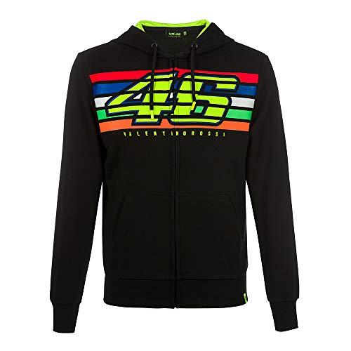 Valentino Rossi Vr46 Classic-Stripes, Full Zip Hoodie Uomo, Nero, XXL