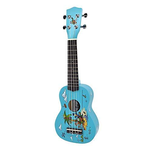 Voggy´s Ukulele Sopran Kinder Klangspielzeug Instrument (12 Bünde, Nylonsaiten, geschlossene Mechaniken, authentischer Klang, Linde, inkl. Plektrum), blau