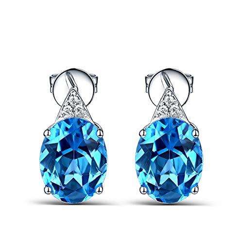 KnSam Boucle d'Oreille Femme Fine Topaze Bleu Ovale Naturelle 4.12ct Femme Fantaisie, Or Blanc 18 Carats Élégance Cadeau Noël