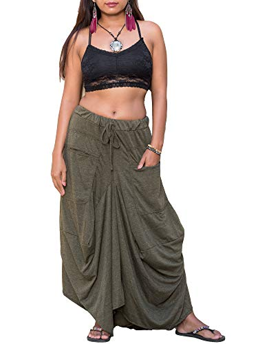 Thaluta Women's Maxi Skirt Bohemian with Pockets Gypsy Elastic High Waist Cotton Olive