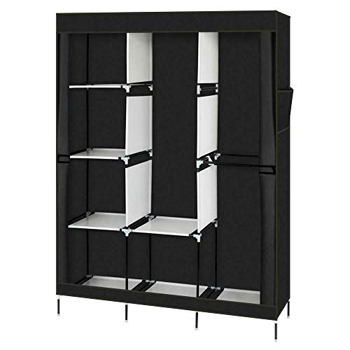 "71"" Portable Closet Wardrobe Clothes Rack Storage Organizer with Shelf Black"