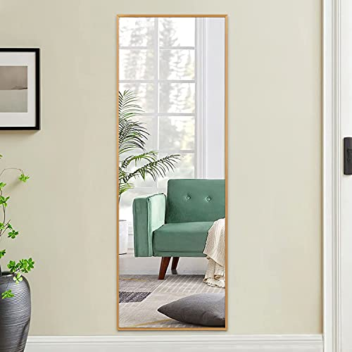 Poshions - Specchio da parete con telaio in lega di alluminio, 110 x 40 cm, stile moderno, salvaspazio, colore: Oro