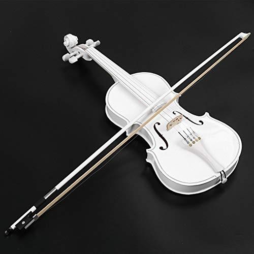 Violín Violín Blanco Instrumento Musical Hecho a Mano Estudiante Principiante de Madera Maciza de niño o Adulto violín con la práctica Profesional yyfang (Color : White, Size : 3/4)