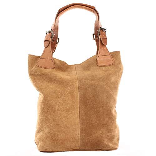LECONI Henkeltasche Echt-Leder Wildleder Damentasche Handtasche für Damen Shopper für Freizeit, Büro oder Shopping Beuteltasche Frauen Ledertasche Veloursleder 34x35x10cm cognac LE0033-V