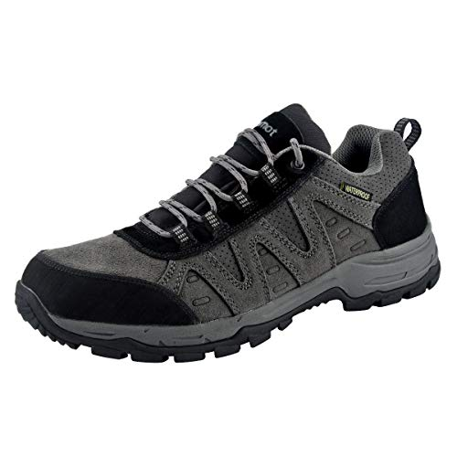 riemot Zapatillas Trekking para Hombre, Zapatos de Senderismo Calzado de Montaña Escalada Aire Libre Impermeable Ligero Antideslizantes Zapatillas de Trail Running, Negro Gris EU 42