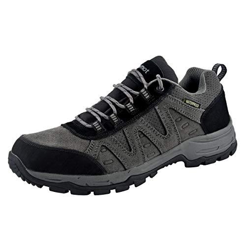 riemot Zapatillas Trekking para Hombre, Zapatos de Senderismo Calzado de Montaña Escalada Aire Libre Impermeable Ligero Antideslizantes Zapatillas de Trail Running, Gris NegroEU 44