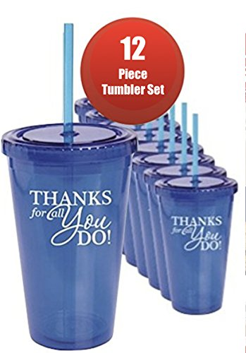 12 piece Thank You Tumblers Blue with Straw/Employee Appreciation Gifts/Holiday Office Gifts/Holiday Corporate Gifts/Teacher Thank You/Nurse Thanks for all You Do/Tumbler/