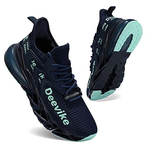 Deevike Laufschuhe Damen Wanderschuhe Damen Sneaker Sportschuhe Straßenlaufschuhe Fitness Tennisschuhe Dunkelblau Hellblau-37