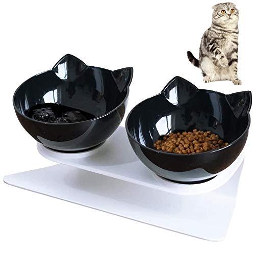 Ciotole per Gatti, VieVogue 15 ° Inclinata Doppio Gatto Ciotola con Supporto Rialzato, Cibo e Acqua Antiscivolo Animali Rimovibile Gatti Cani di Piccola Taglia (Black+Black Bowls)